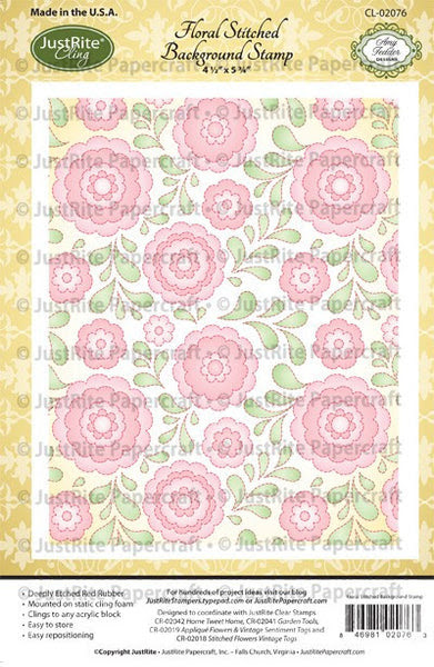 Floral Stitched Cling Background Stamp