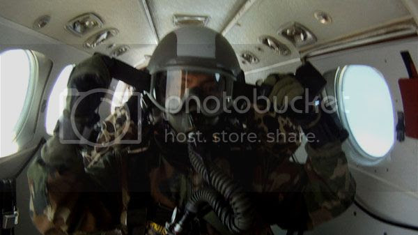 Lowering and securing my visor prior to conducting the HALO jump above Whiteville, Tennessee...on April 29, 2013.