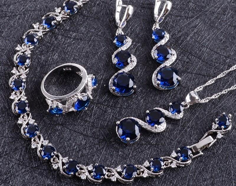 9857c0efc41b Comprar Conjunto De Joyas Boda Plata Circonita Azul 925 Para Mujer ...
