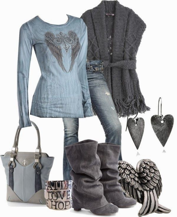 Attractive polyvore set in grey and denim color for fall fashion