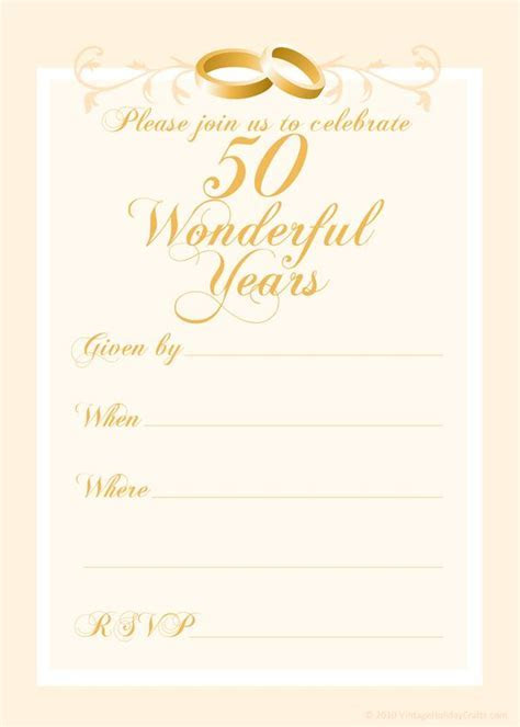Free 50th Wedding Anniversary Invitations Templates   50th