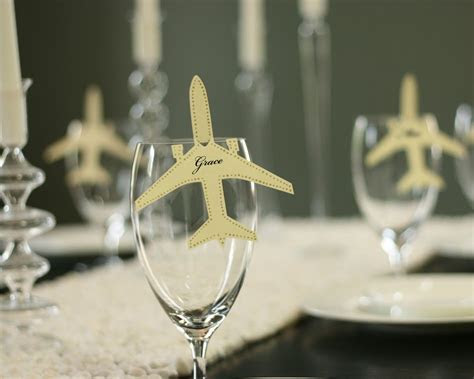 Airplane Escort Cards   shimmer silver, plane place card