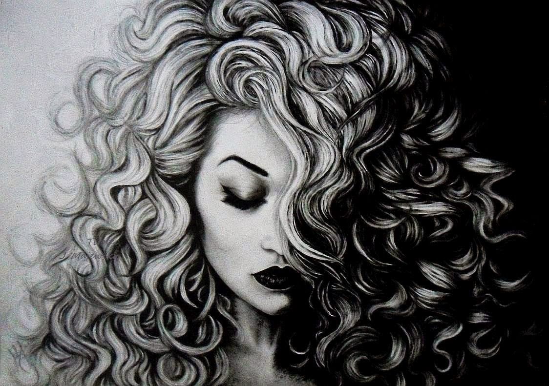 Curly  hair  black  and wite We Heart It art  drawing