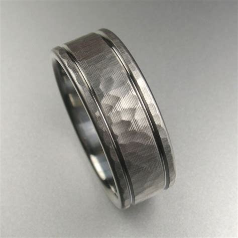 hammered stripes ring mens wedding rings wedding