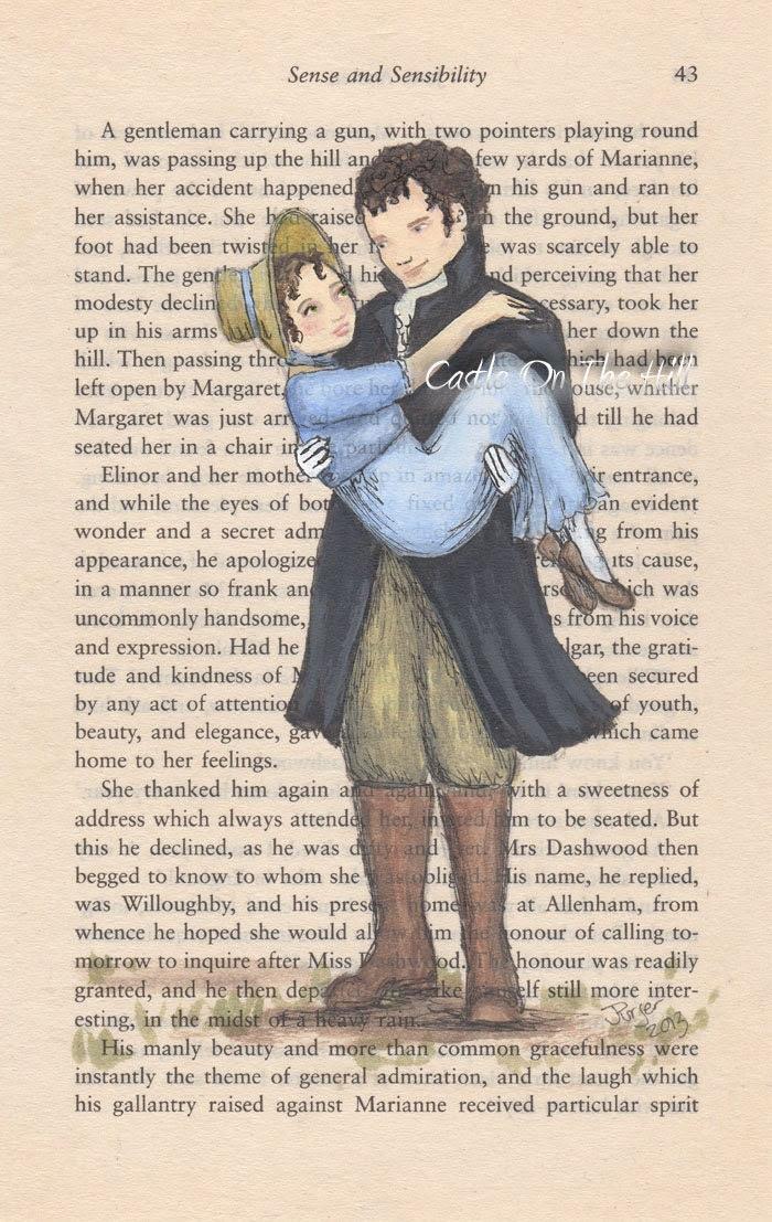 Marianne y Willoughby original de retrato en una página de libro de Jane Austen