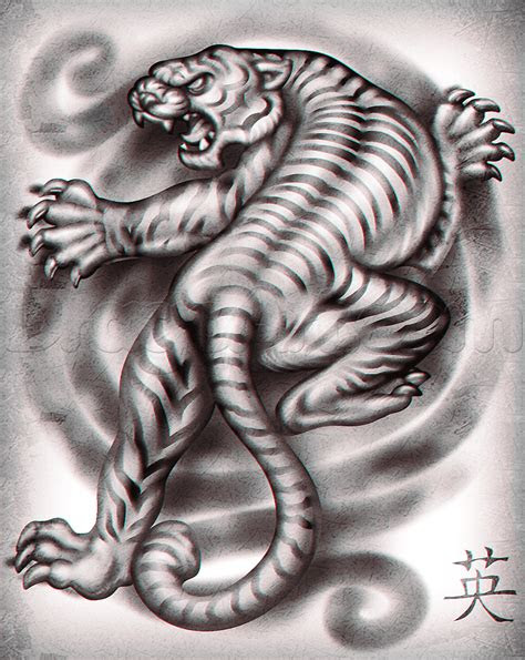 draw  japanese tiger tattoo step  step tattoos