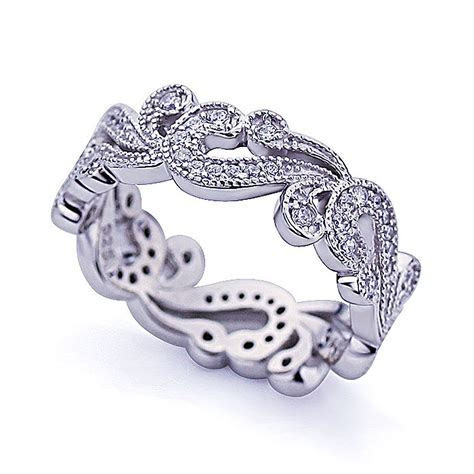 Double Accent   Platinum Plated Sterling Silver Wedding