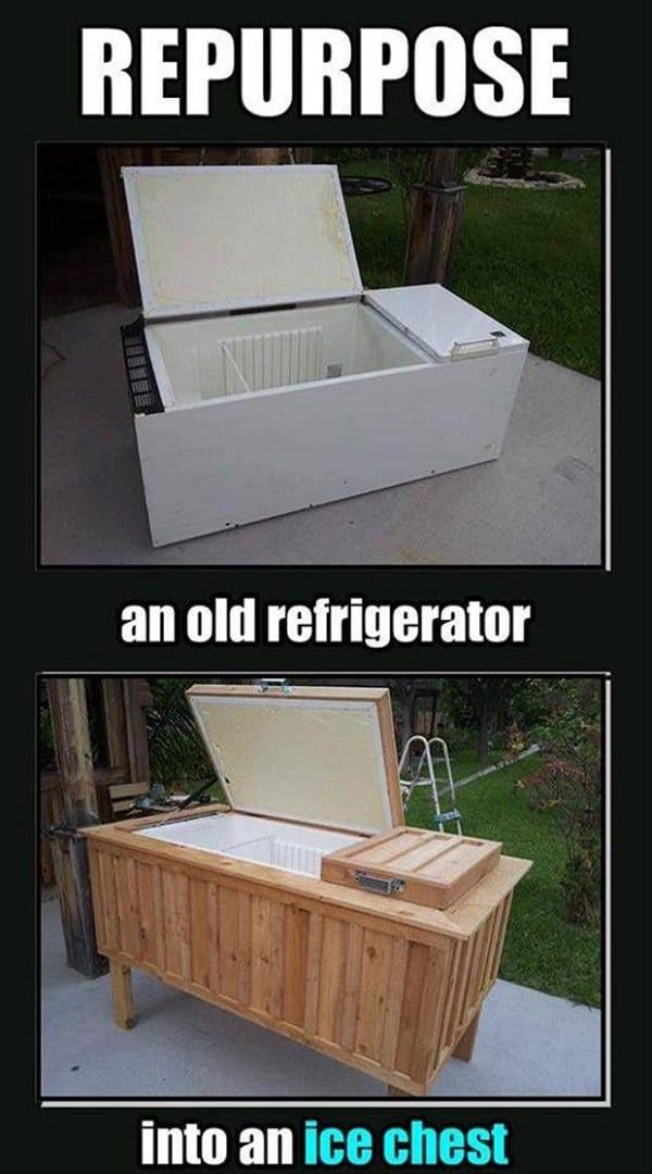 old fridge ice chest