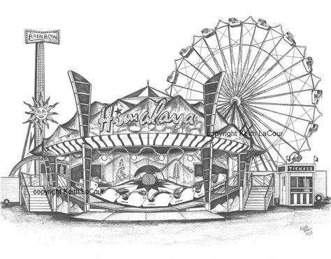 himalaya skydiver carnival ride pencil drawing