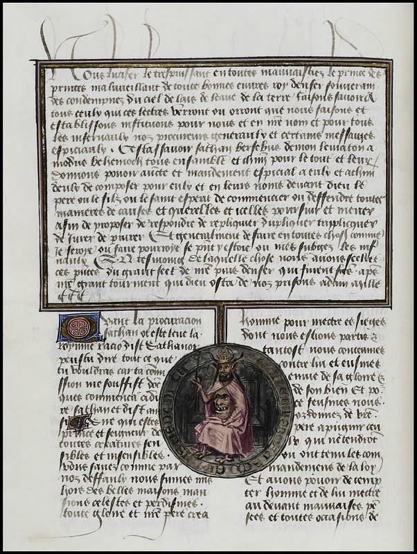 15th century illuminated manuscript miniature: Henri de Ferrières, Les Livres du roy Modus et de la royne Ratio 259