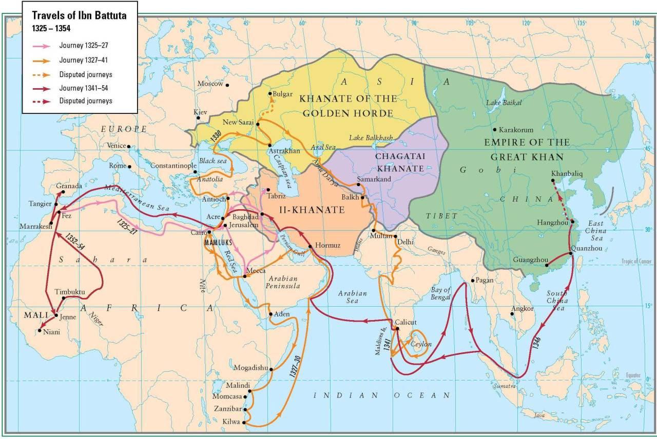 Rutas de viaje de Ibn Battuta en el siglo XIV