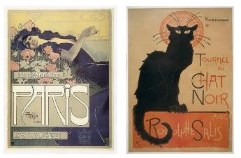 """""""Cigarrillos París"""", d'Aleardo Vila, i """"Le Chat Noir"""", de Steinlen"""