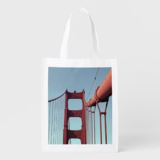 On The Golden Gate Bridge Grocery Bags