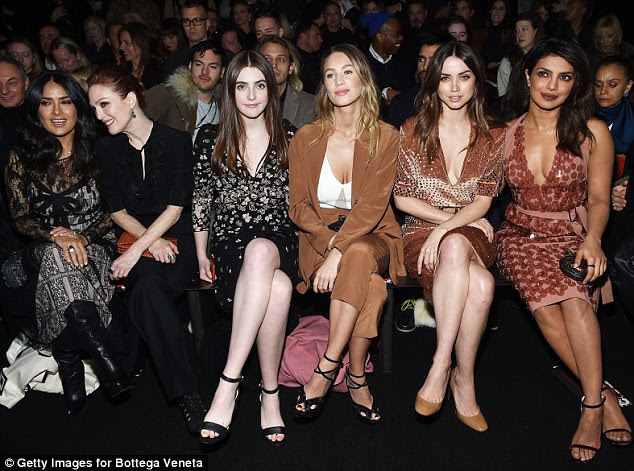 Fashionistas: Sitting front row at the fashion show was; Salma Hayek Pinault, Julianne Moore, Liv Freundlich, Dylan Penn, Ana de Armas and Priyanka Chopra