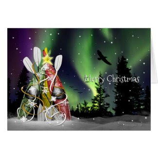 Kayak Christmas Tree Aurora Borealis Card