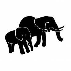 ゾウの親子シルエット イラストの無料ダウンロードサイトシルエットac