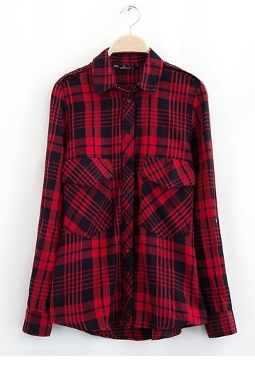 Classical Red Plaid Cotton Shirt