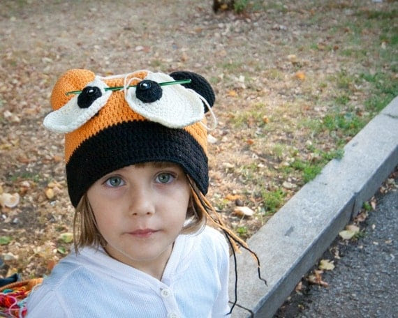 Funny Crochet Halloween Bear Hat Girlie Boy Teens Unisex Adults Orange Black Vanilla Fall Autumn Winter designed by dodofit on Etsy