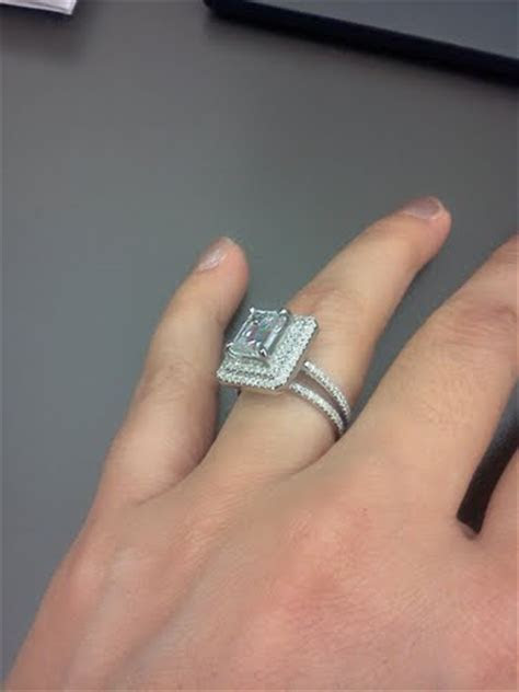 My 2ct emerald cut, surrounded by a double halo, with