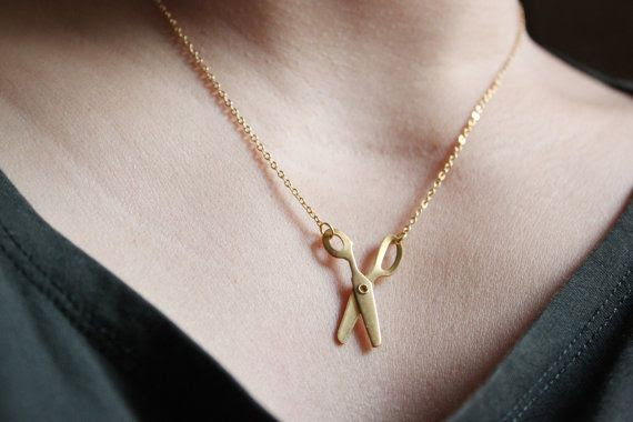 dainty modern minimalist  gold  Movable Scissors Necklace  -gold brass chain