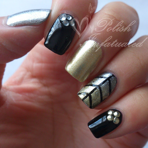 black, silver and gold