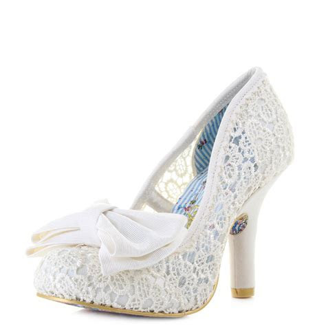 Womens Irregular Choice Mal E Bow Cream Bridal Elegant
