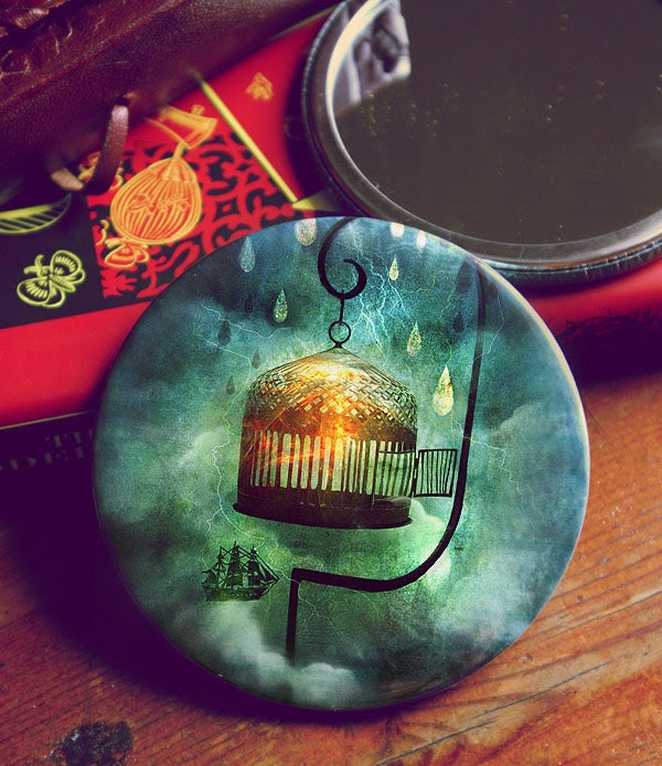 Not Every Port -  pocket mirror by Meluseena - Meluseena