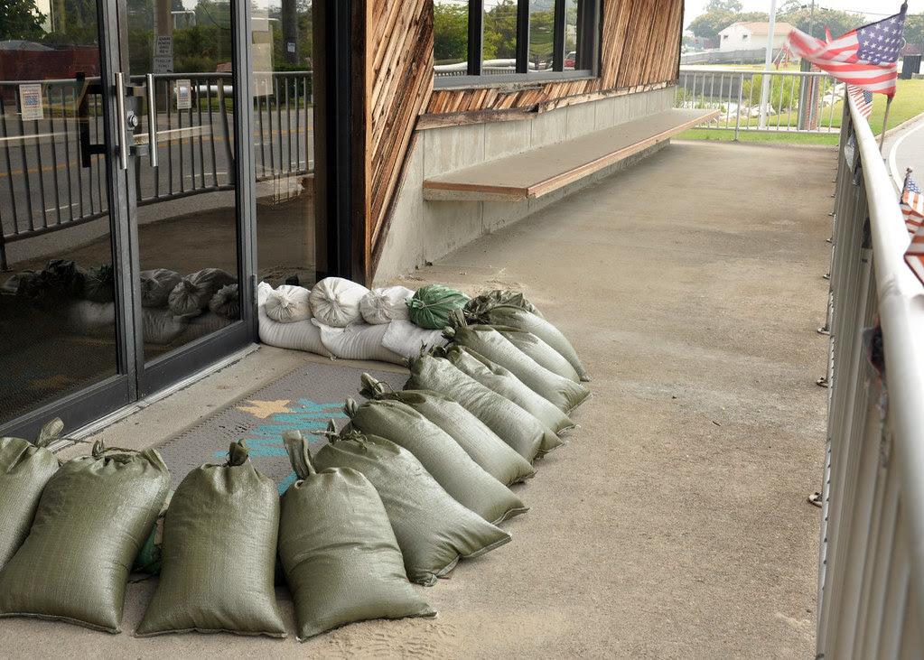 Sailors Place Sandbags For Hurricane Irene Little Creek
