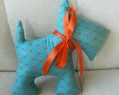 Stuffed Scotty Dog - Teal with Orange Stars - sewcutebylindsay