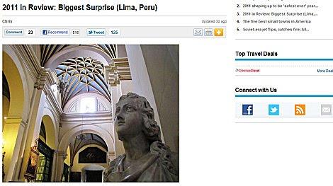 USA Today: Lima es una sorpresa como destino turístico