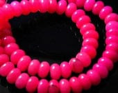 10 pc- Smooth Hot Pink Rondelle Jade Beads, 10x5mm