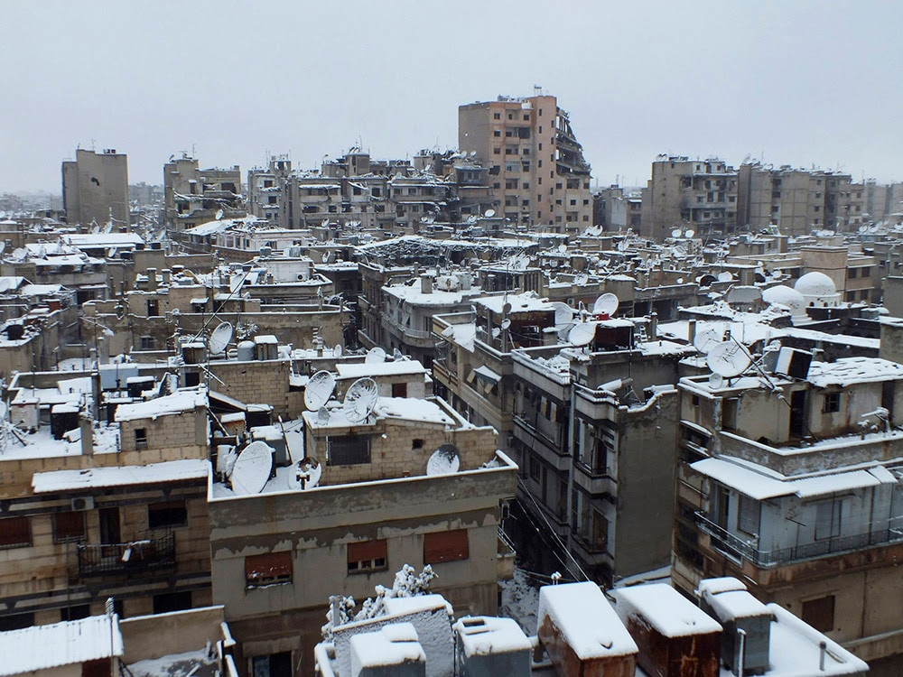 The besieged area of Homs, covered with snow. (REUTERS/Yazan Homsy)