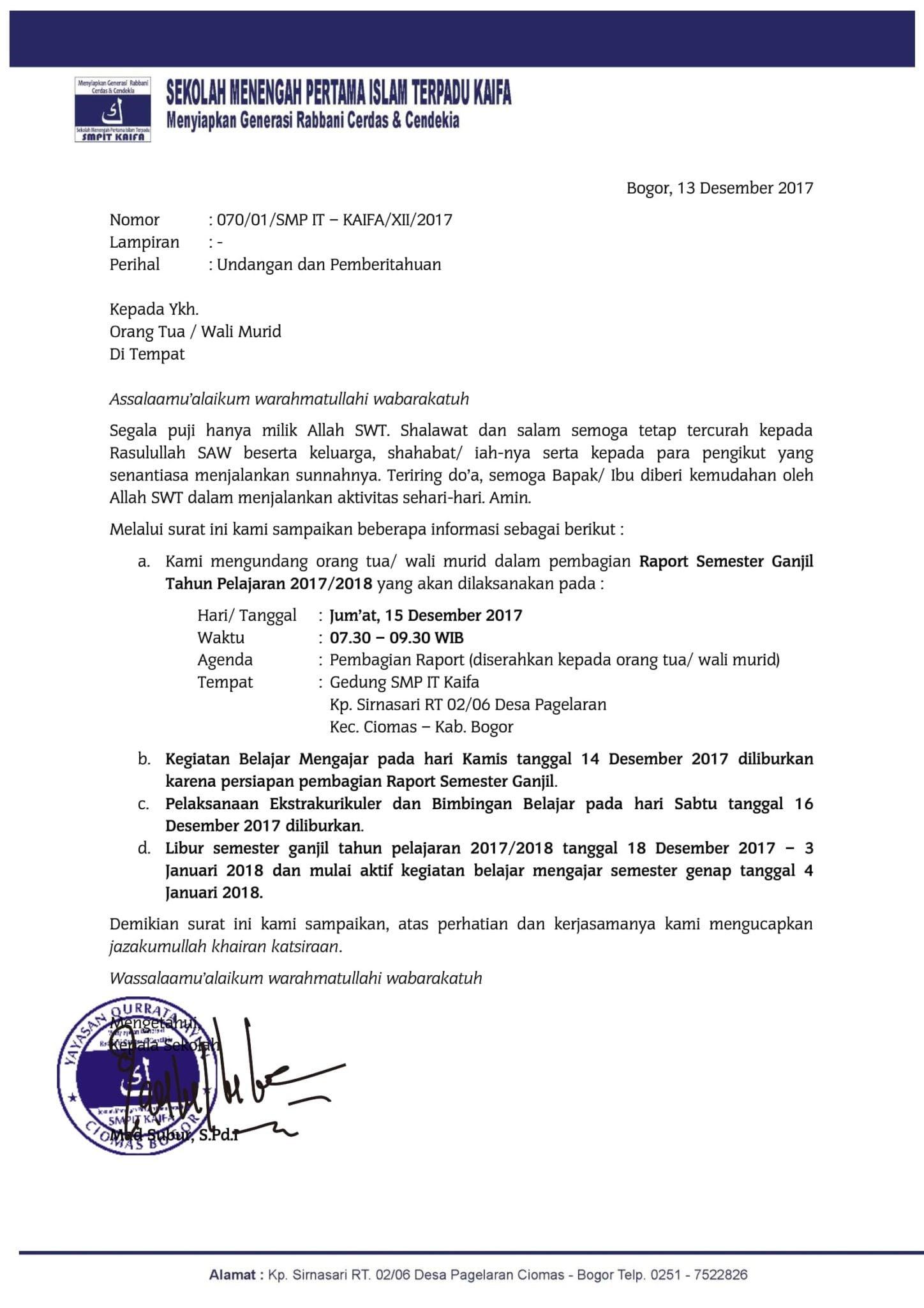 Surat Pemberitahuan Pembagian Raport Dan Libur Semester Ganjil Sekolah Islam Terpadu Kaifa