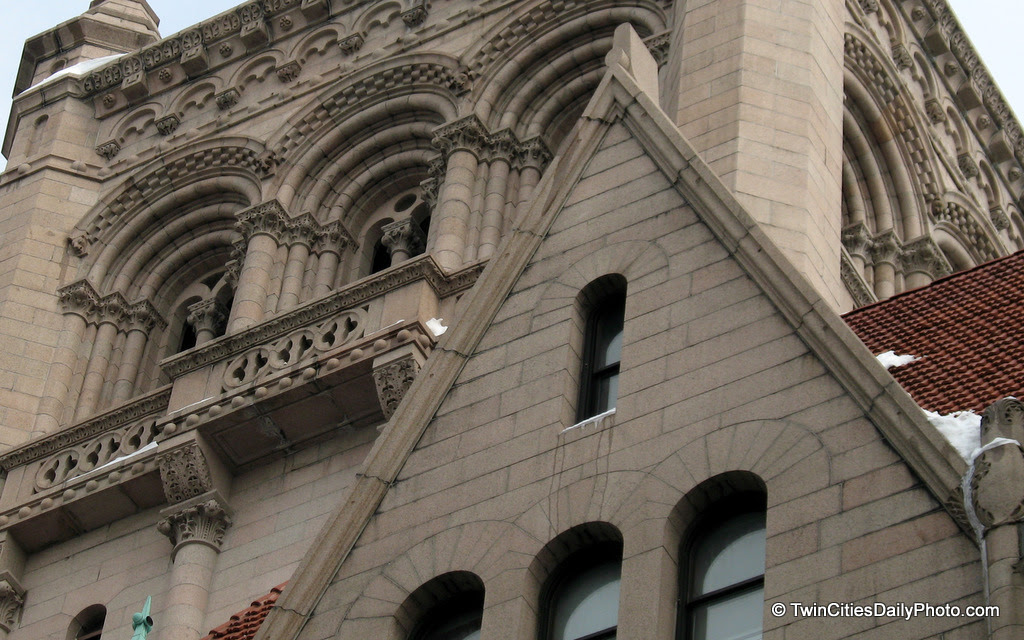 The west side roof and peak of the Landmark Center building in downtown Saint Paul.