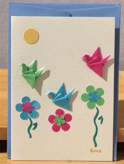 Greetings card Handmade Three Origami Crane in summer garden