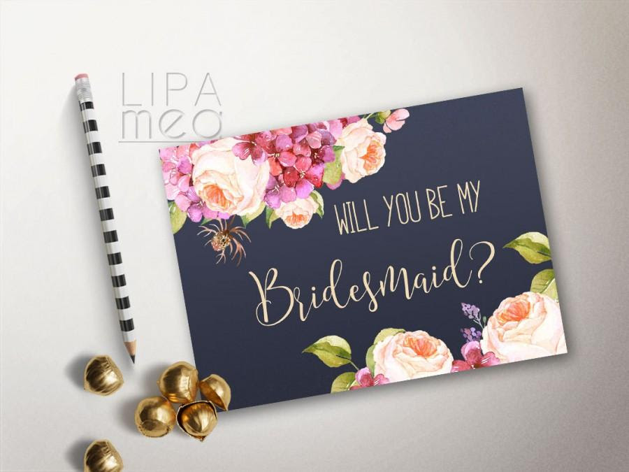 Will You Be My Bridesmaid Card Printable Floral Bridesmaid Cards
