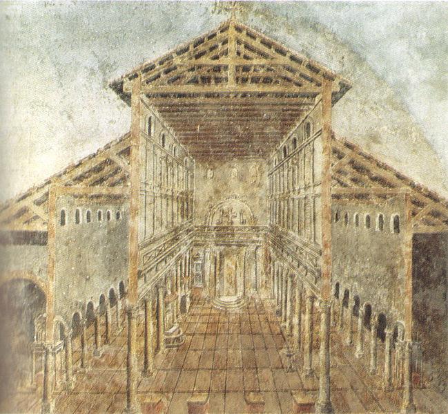 Archivo:Affresco dell'aspetto antico della basilica costantiniana di san pietro nel IV secolo.jpg