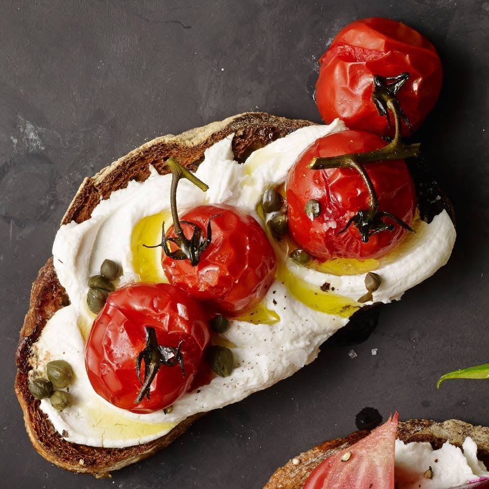 Roasted Cherry Tomato & Goat Cheese Tartine