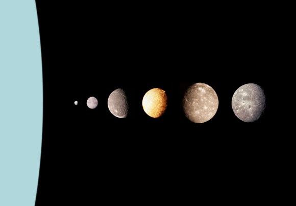 A montage of Uranus's moons. Image credit: NASA