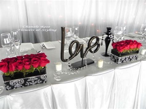 Red/Black/Silver/White Centerpieces: Head Table, Wedding