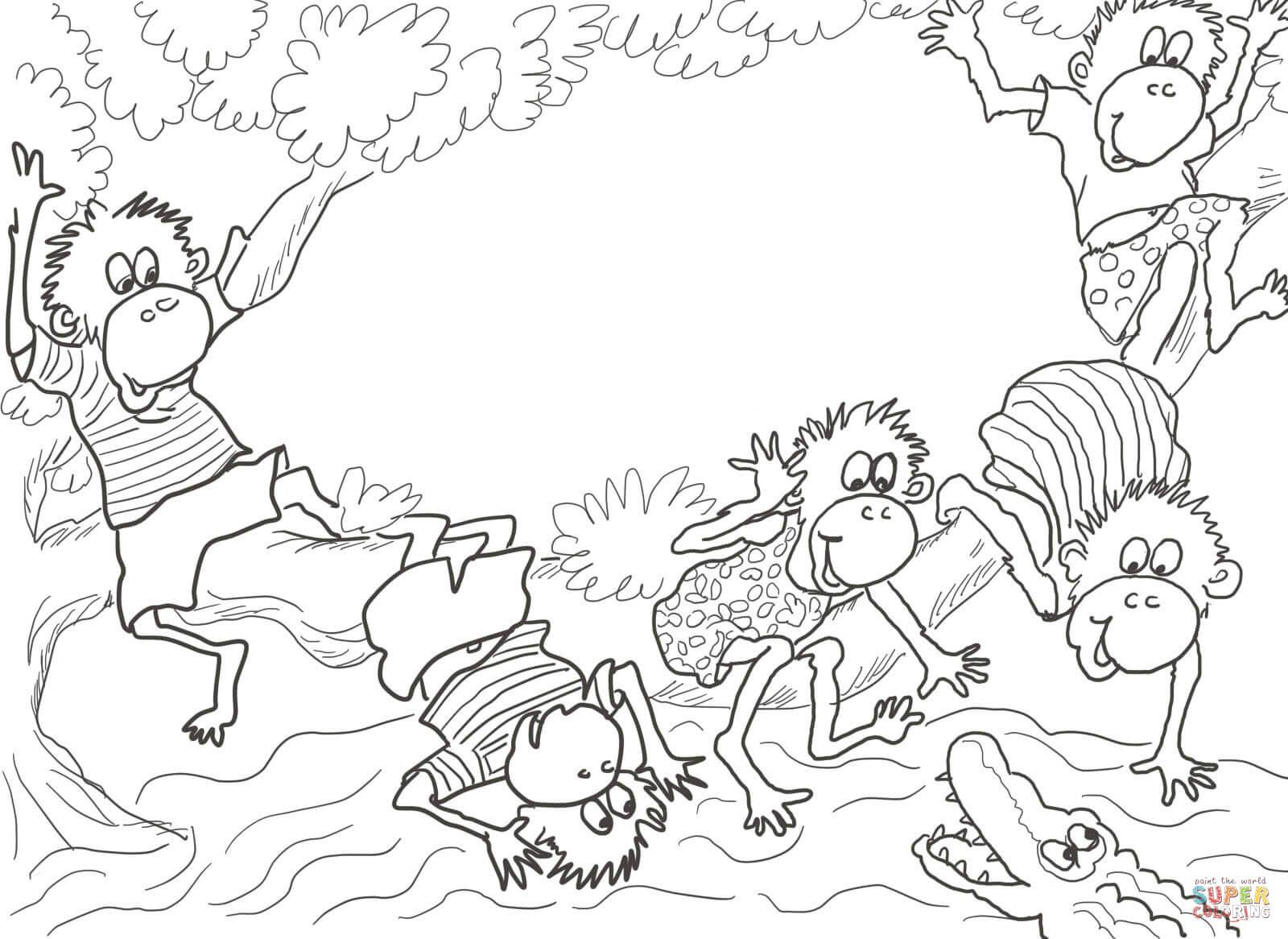 Klick das Bild Five little monkeys Fünf kleine Affen sitzen auf dem Baum