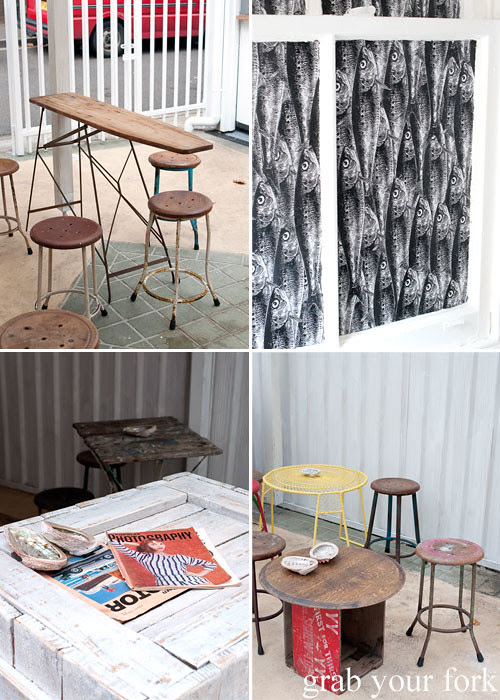 Ironing board table and rustic seating at Fish Place Surry Hills