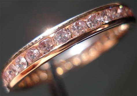 Pink Diamond Wedding Band   Rose Gold diamond Band