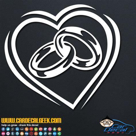 Wedding Rings Inside a Heart Vinyl Car Window Decal Sticker