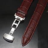 腕時計 交換ベルト 本革 クロコ型押しベルト Dバックル 18mm  ブラウン 【時計バンド ・ 取付工具・バネ金具棒 ・ クロス付き】 4点セット