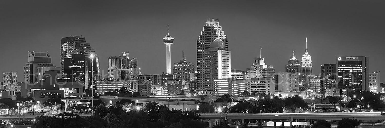 Amazon.com: San Antonio City Skyline at NIGHT Black & White BW 12 ...