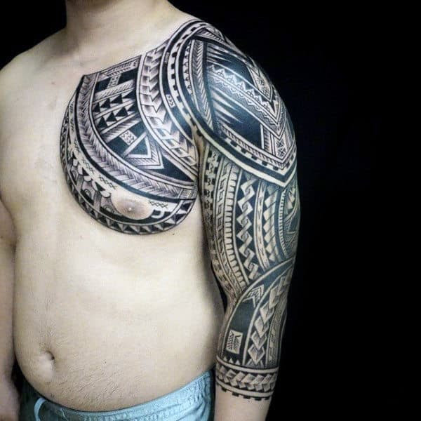 Black Ink Dragon Tattoo On Chest And Half Sleeve Tattoo Viewercom