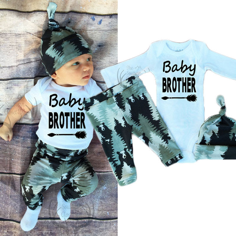 Infant Baby Boy Girl Long Sleeve Tops +Pants Hat Outfits Set Clothes UK STOCK  eBay