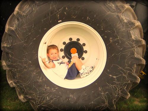 A boy in a tire 2