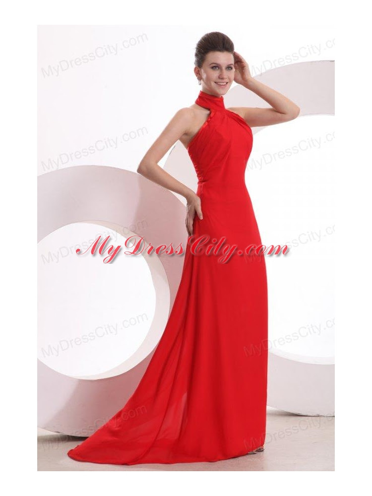 Red halter evening gown